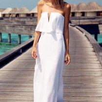 Flirty Strapless White V