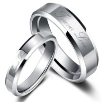 Forever Love Simple Wedding Rings Couples Tungsten Rings