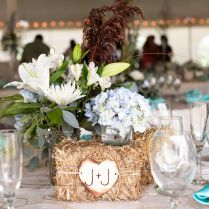 Gallery Country Hay Bale With Flowers Wedding Centerpieces