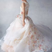 Gallery Lazaro Printed Flowers Ball Gown Wedding Dress 2016