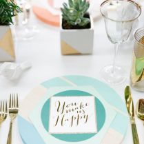 Gallery Modern Geometric Tiffany Blue Wedding Table Setting