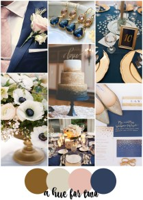 Gold, Champagne, Blush And Navy Fall Wedding Colour Scheme