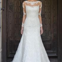 Gorgeous Illusion Lace Back Long Sleeve Fit And Flare Wedding