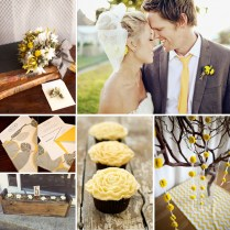 Gray And Yellow Wedding Cupcakes