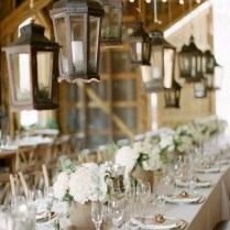 Hanging Lanters, White Hydrangea Rustic Centerpieces For Wedding
