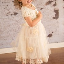 Ivory Lace Flower Girl Dress,sale,lace Girl Dress, Rustic Flower