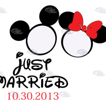 Just Married Mickey Minnie Mouse Heads Wedding Date – Shirts