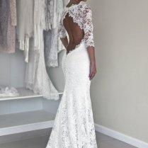 Keyhole Back Wedding Dress In Corded French Lace By Polinaivanova