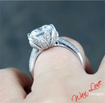 Lotus Flower Diamond & White Sapphire Engagement By Wanlovedesigns
