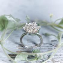 Lotus Flower Engagement Ring