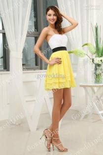 Lovely White Yellow Strapless Ruffle Black Sash Mini Junior