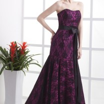 Mermaid Black And Purple Lace Wedding Dress