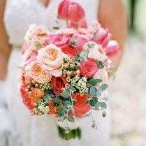 Navy Blue Coral And Champagne Wedding