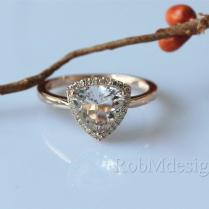 New Design!trillion Triangle Cut 8mm Pink Morganite Engagement