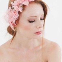 Nymph Pink Silk Flowers Headpiece Bridal Wedding