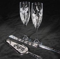Orchid And Dragonfly Wedding Set, Champagne Glasses, Cake Server