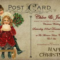 Personalised Vintage Postcard Christmas Wedding Invitations Packs