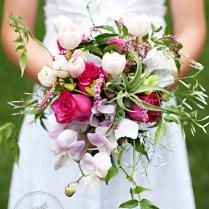 Pink Green White Wedding Bouquet