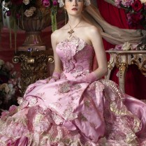 Pink And Gold Wedding Dress