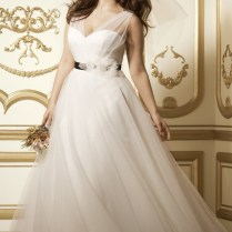Plus Size Ball Gown Tulle Wedding Dress With Black Ribbon And Mesh