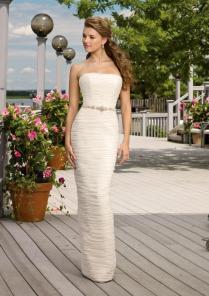 Pretty Column Satin No Train Modest Wedding Dresses Wd206 [005mwd