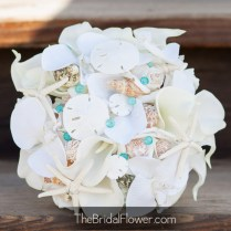 Purple And Light Blue Seashell Wedding Bouquet