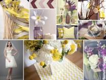Purple, Gray, And Yellow Wedding