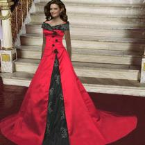 Red Wedding Gown With Sleeves