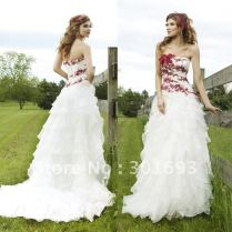 Red White Lace Wedding Dresses