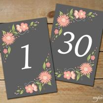 Romantic Floral Table Numbers 1