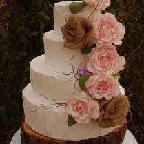 Rustic Rose Wedding Cake In Buttercream With Sugar Roses, Burlap