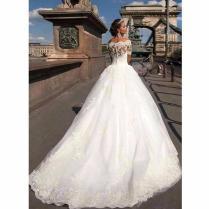 Short Sleeve Lace Vintage Princess Wedding Dresses 2551936