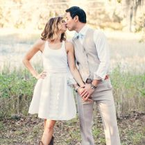 Short Wedding Dresses Worn With Cowboy Boots