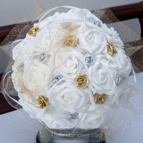 Silver And Gold Accented White Wedding Bouquet With Tulle