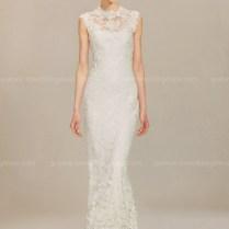 Sleeveless High Neck Lace Wedding Dress $255