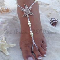 Starfish Barefoot Sandals, Beach Wedding Barefoot Sandal, Bridal