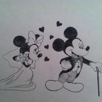 Study Of Mickey And Minnie Wedding Day Drawing By Tony Clark