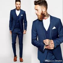 Suit Custom Made Groom Tuxedos Blue Business Suits Classic Sequin