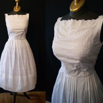 Summer Wedding 1950's White Cotton Eyelet Sun Dress By Wearitagain