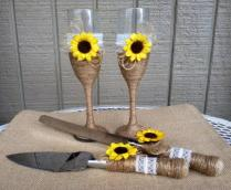 Sunflower Wedding Cake Serving Set & Champagne Glasses Rustic