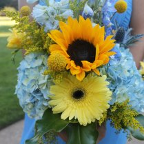 Sunflowers, Gerbera Daisies, Blue Hydrangea, Thistle, Fragrant