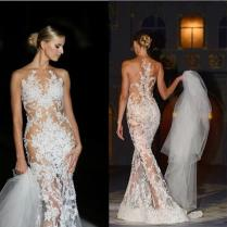 Sweep Train Mermaid Wedding Gowns Covered Button Applique Sexy