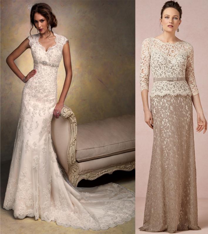 Taupe Lace Wedding Dress
