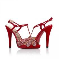 Ultra High Heel Sandals Rhinestones Peep Toe Red Wedding Bridal