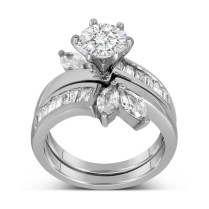 Unique Round And Marquise Cut Pleasing Wedding Ring Sets For Her