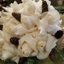 Vendella Roses, Pine Cones, Burlap Ribbon