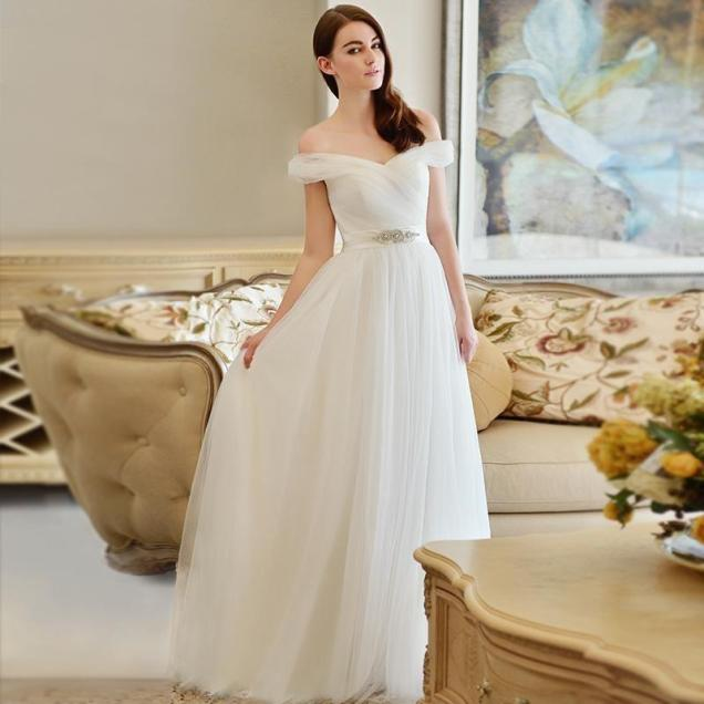 Very Simple But Elegant Off Shoulder Wedding Dress A Line Bridal