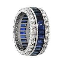 Vintage Sapphire And Diamond Wedding Band