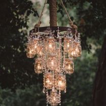 Wagon Wheel Chandelier, Wheel Chandelier And Rustic Mason Jars On