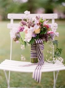 Wedding Bouquet With Stripe Riboon